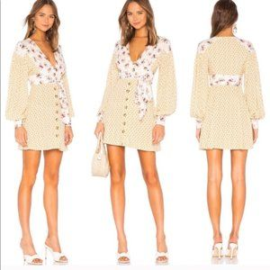FREE PEOPLE Wonderland Floral Dress in Ivory Combo